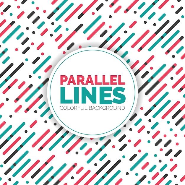 Parallelle diagonale overlappende kleur lijnen patroon achtergrond Gratis Vector