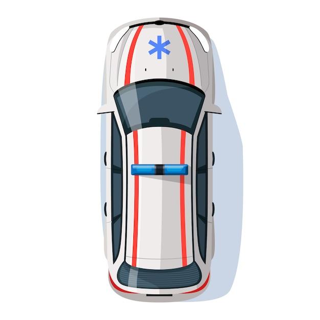 Paramedicus auto semi vlakke afbeelding Premium Vector