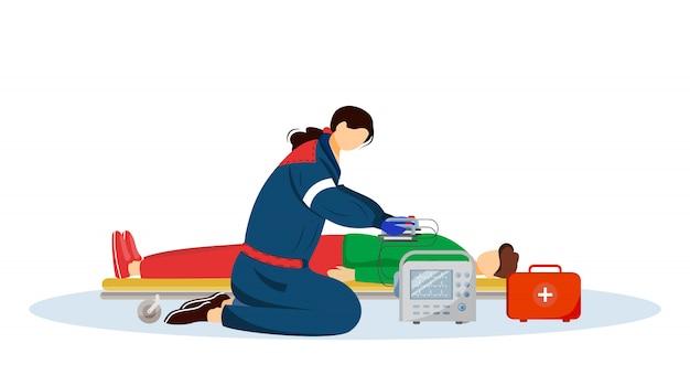Paramedicus die eerste hulp met defibrillatorillustratie geeft. spoedeisende arts, dokter en gewonde stripfiguren patiënt. reanimatie, spoedeisende medische specialist, redder op wit Premium Vector