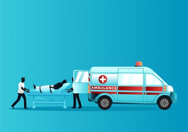 Paramedisch team gewonde man op een brancard in ambulance brengen Premium Vector