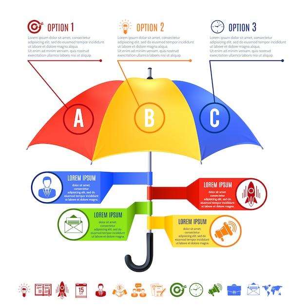 Paraplu infographics set Gratis Vector