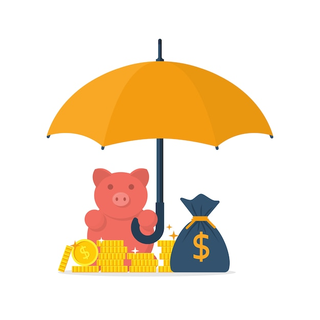 Paraplu over munten, geldzak en spaarvarken Premium Vector