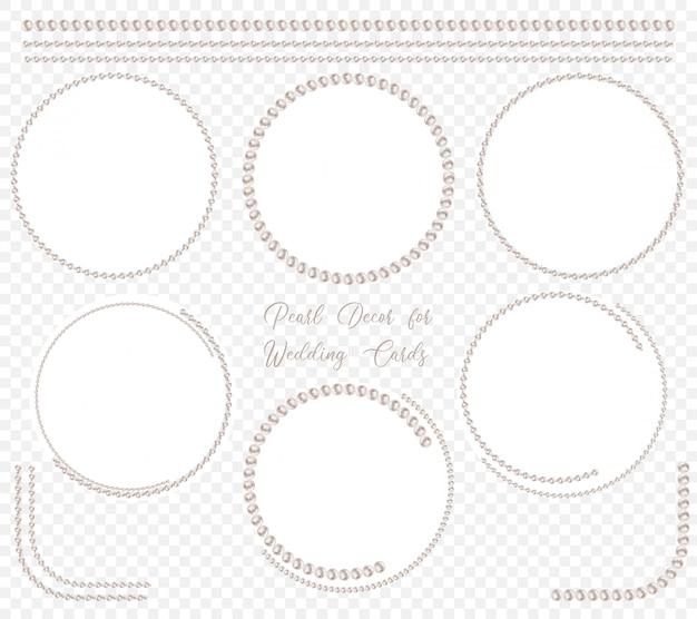Parel cirkelkader ingesteld voor bruiloft decoratie Premium Vector
