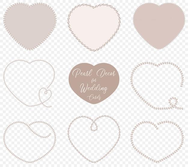Parelhartvormen voor bruiloftsdecoratie Premium Vector