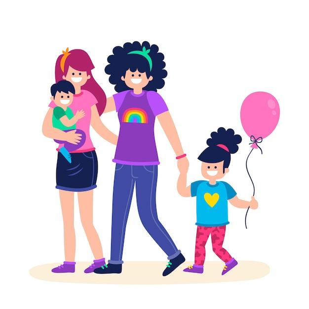 Paren en gezinnen vieren trotsdag Gratis Vector
