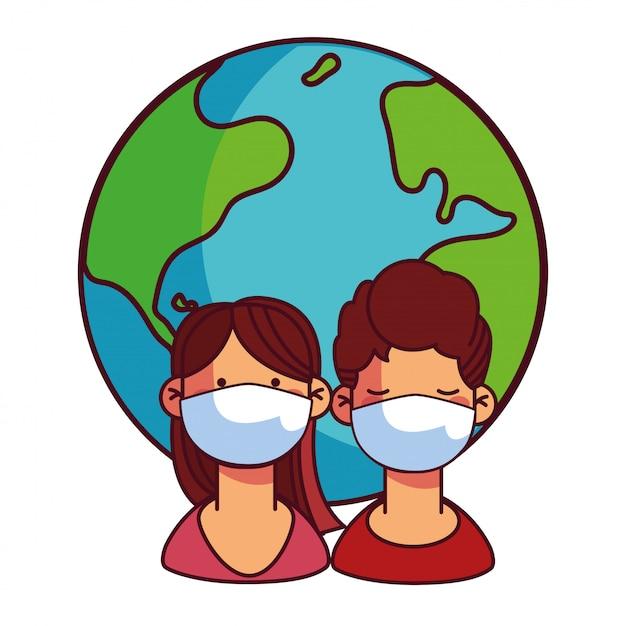 Paren met maskers die voor de wereld zorgen Premium Vector