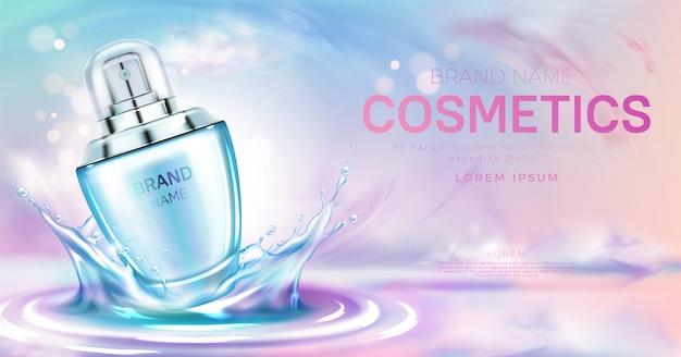 Parfum cosmetische fles op spatten waterspiegel banner Gratis Vector
