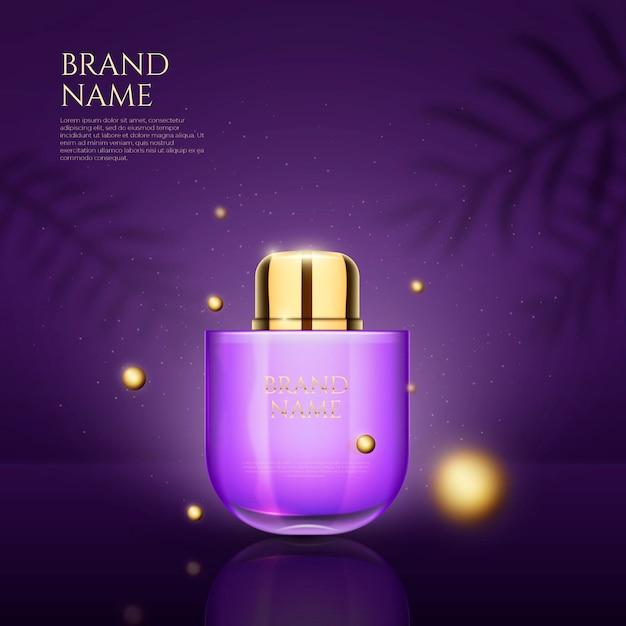 Parfum en 3d-stippen ontwerpen reclame Gratis Vector