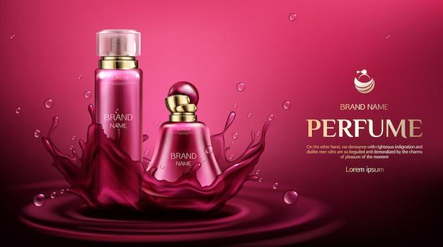 Parfum geurbestrijdende flessen op waterplons met dalingen. Gratis Vector