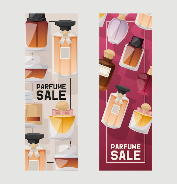 Parfume flessen verkoopset ofs. Premium Vector