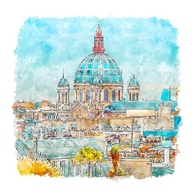 Parijs frankrijk aquarel schets hand getrokken Premium Vector