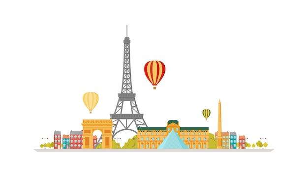 Parijs (frankrijk) skyline van de stad vector plat trendy illustratie. Premium Vector
