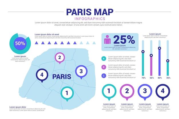 Parijs kaart infographics Gratis Vector