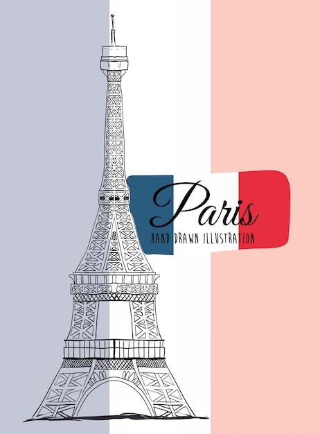 Parijs monumenten ontwerp Premium Vector