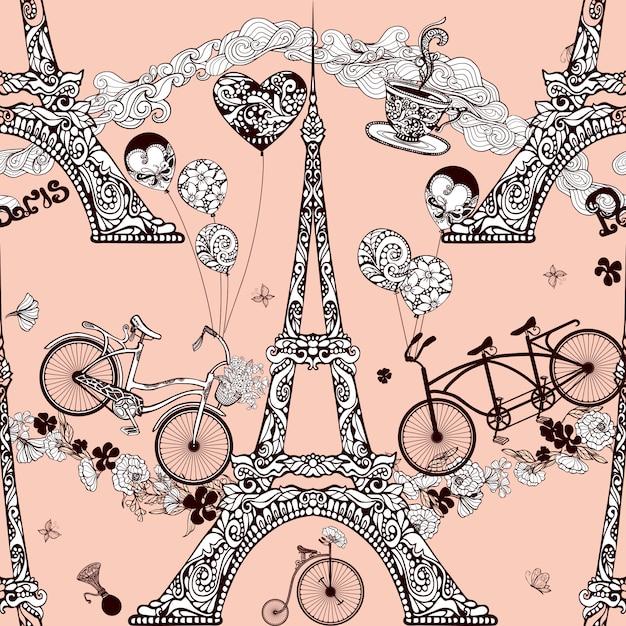 Parijs naadloze patroon Gratis Vector