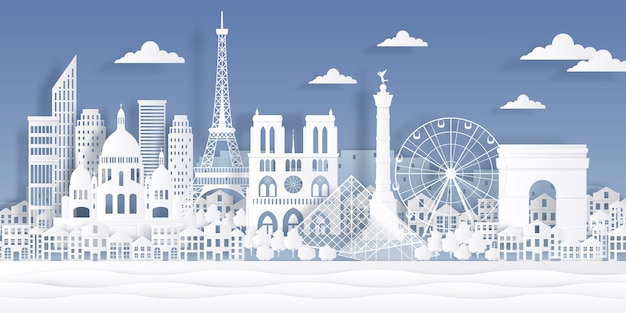 Parijs papier oriëntatiepunt. eiffeltoren frans monument, reis stadssymbool, papier gesneden stadsgezicht ontwerp. Premium Vector