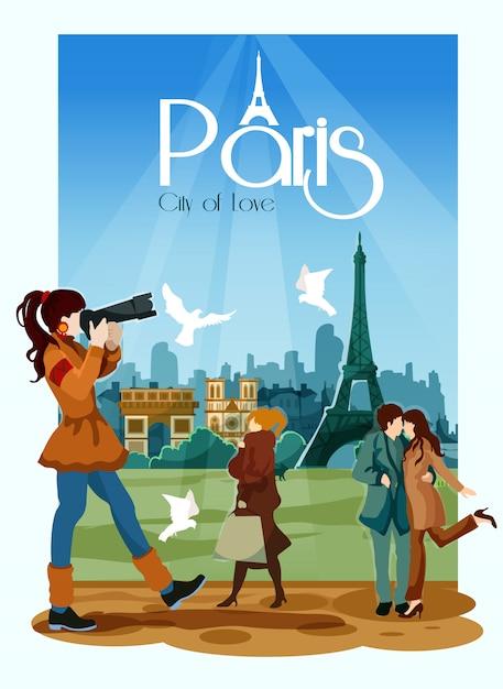 Parijs poster illustratie Gratis Vector