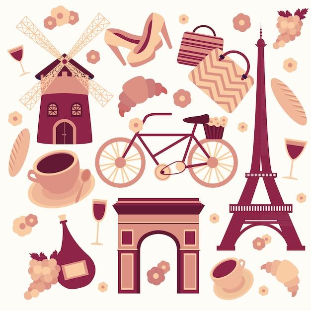 Parijs symbolen collectie van eiffel toren franse croissant koffie en cultuur geïsoleerd Gratis Vector