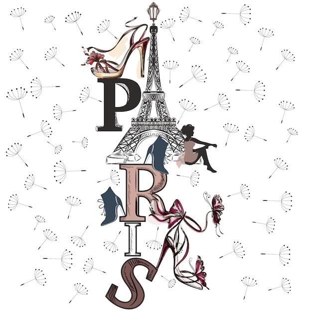 Paris achtergrond ontwerp Gratis Vector
