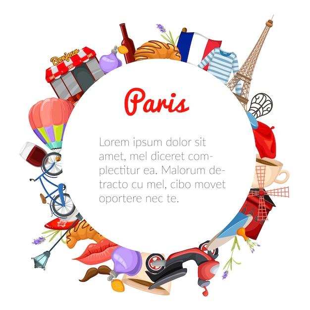 Paris ronde samenstelling Gratis Vector