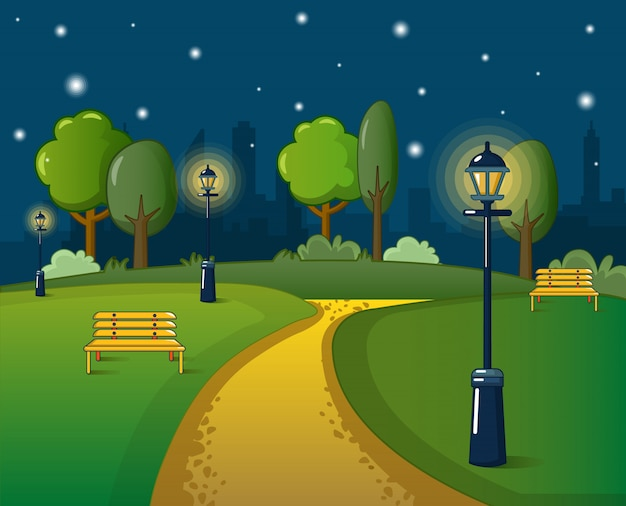 Park concept, cartoon stijl Premium Vector
