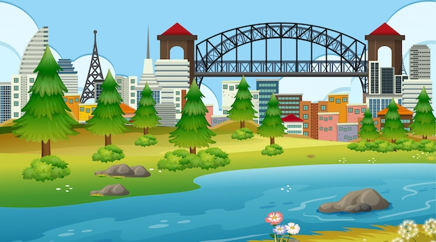 Park in stad met rivier Gratis Vector