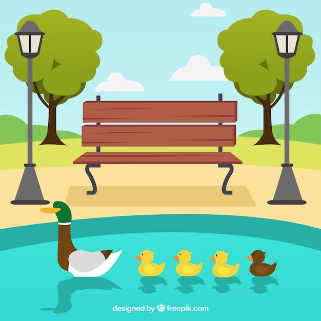 Park met familie van eenden in het meer Gratis Vector