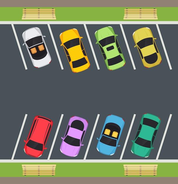 Park met parkeerplaatsen Premium Vector