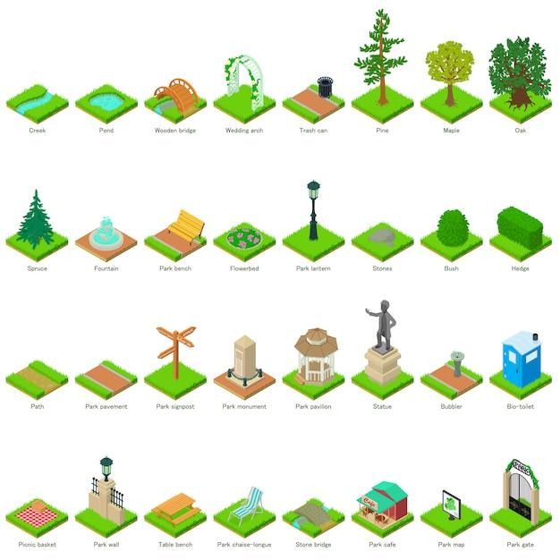 Park natuurelementen landschap ontwerp pictogrammen instellen. isometrische illustratie van 32 park natuurelementen landschap vector iconen voor web Premium Vector