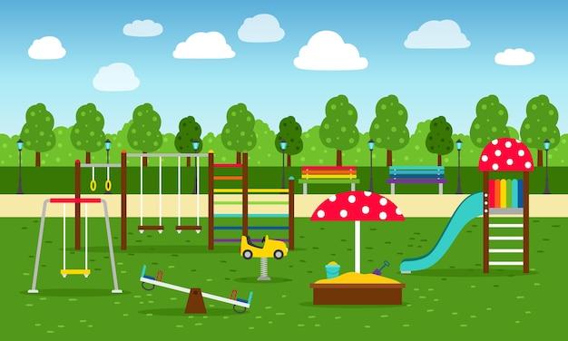 Park speeltuin. speeltoestellen in de tuin zonder kinderen Premium Vector