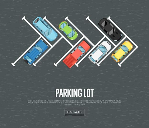 Parkeerplaats banner in vlakke stijl Premium Vector