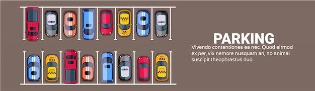 Parkeerplaats hoogste mening met reeks kleurrijke auto's, de horizontale banner van de parkstreek Premium Vector
