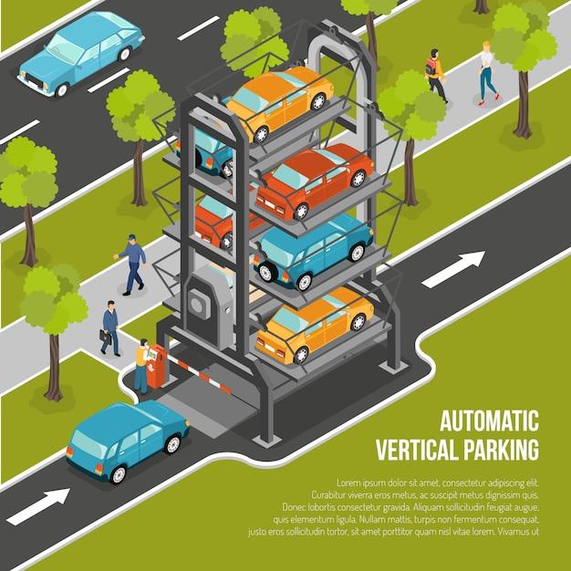Parkeerplaats poster Gratis Vector