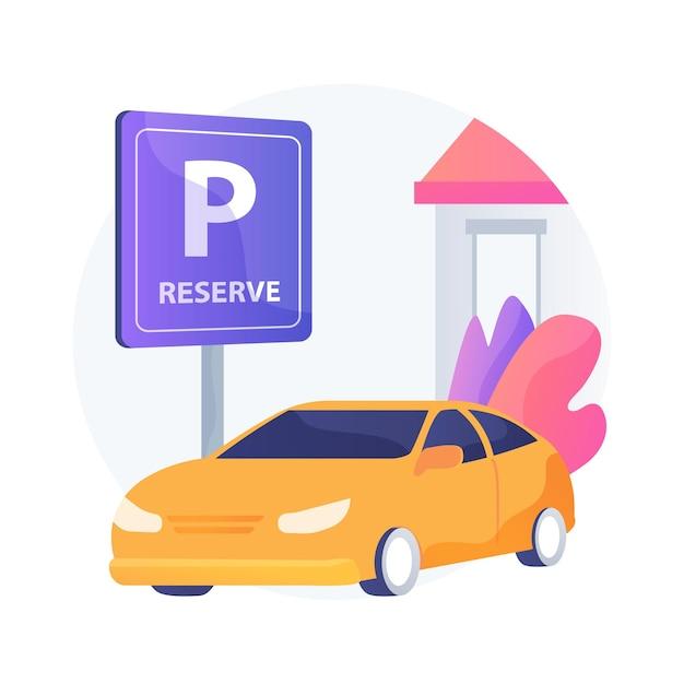 Parkeerplaats reserveren voor abstracte concept illustratie van de stoeprand. klant loopt binnen, ophaalstation, aankomst klanten, houd werknemers veilig, klein bedrijf Gratis Vector