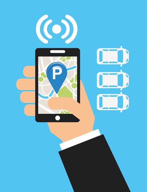 Parkeerservice, kaart aanraken Gratis Vector