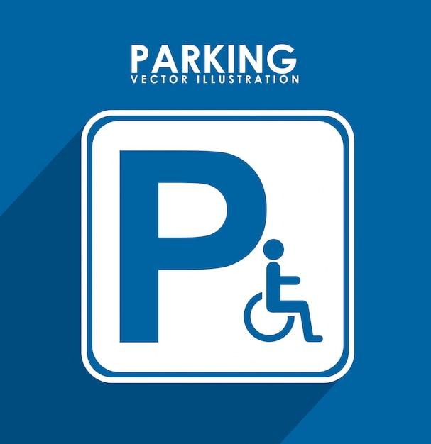 Parkeersignaal over blauwe achtergrond vectorillustratie Premium Vector