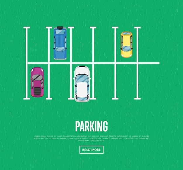 Parkeerzone banner in vlakke stijl Premium Vector