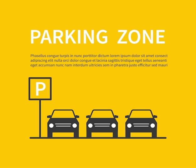 Parkeerzone bord met auto zwarte silhouet pictogrammen Premium Vector