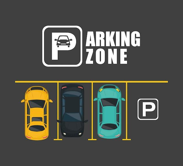 Parkeerzone luchtzichtscène Premium Vector