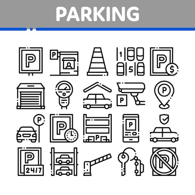 Parkeren auto collectie elementen icons set Premium Vector