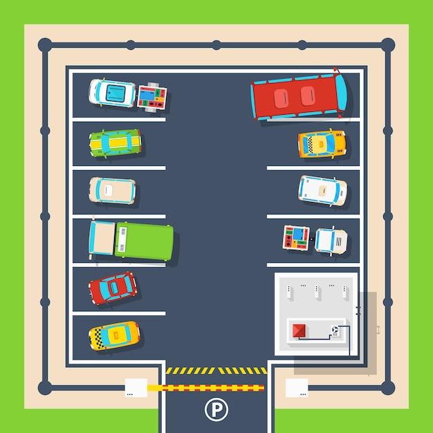 Parkeren bovenaanzicht poster Gratis Vector