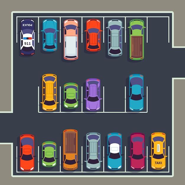Parkeren bovenaanzicht. veel auto's op parkeerzone, verschillende voertuigen op geparkeerde parkeerplaats van bovenaf. auto vector infographic Premium Vector