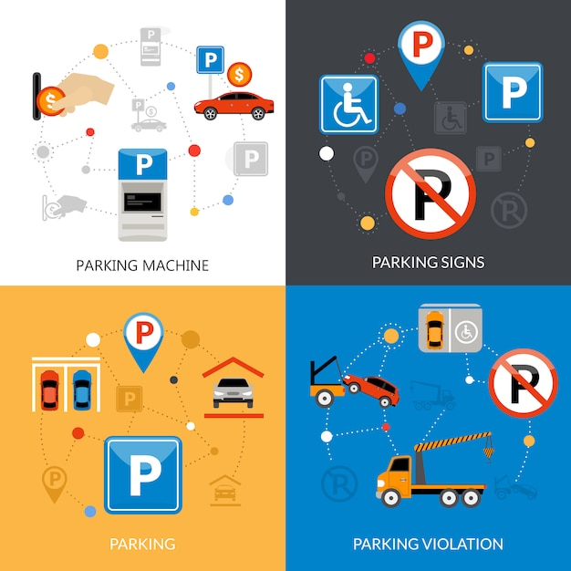 Parkeren icons set Gratis Vector