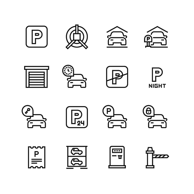Parkeren pictogrammen. autogarage en parkeerlijnsymbolen Premium Vector