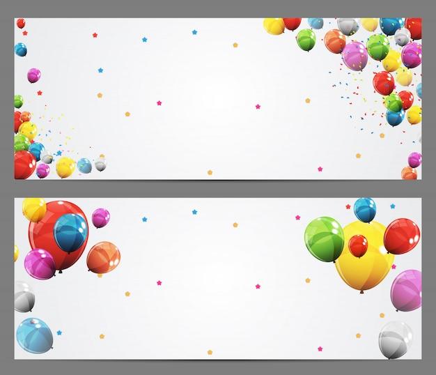 Partij achtergrond banner en ballonnen Premium Vector