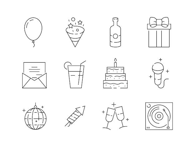 Partij dunne pictogrammen. evenement feest verjaardag plezier entertainment partij ballen en taarten vector lineaire symbolen geïsoleerd Premium Vector