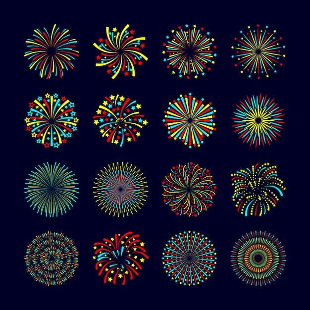 Partij en vakantie gebeurtenis vuurwerk pictogram vlakke set geïsoleerde vectorillustratie Gratis Vector