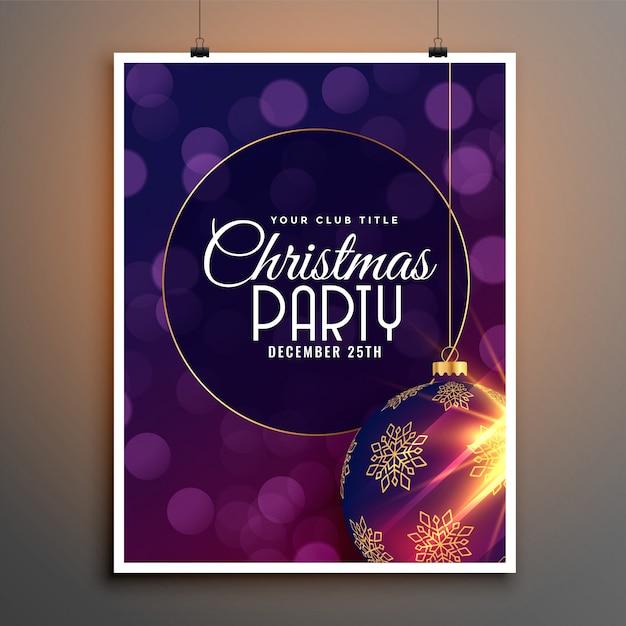 Partij folder sjabloon voor kerst festival seizoen Gratis Vector