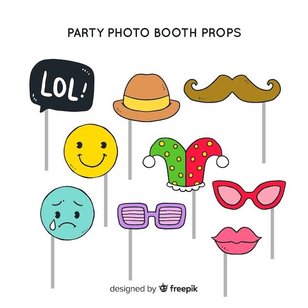 Partij foto booth prop collectie Gratis Vector