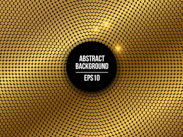 Partij gouden gestippelde mozaïek abstracte achtergrond Premium Vector